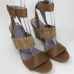 Johnson and Murphy Brown Wedge Leather Sandals